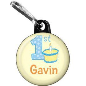 Lil' Boy 1st Birthday Personalized Mini Zipper Pull (each)