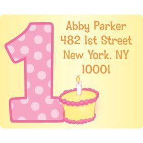 Lil' Girl 1st Birthday Personalized Address Labels (sheet of 15)