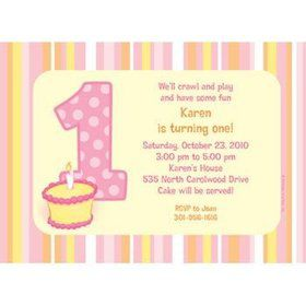 Lil' Girl 1st Birthday Personalized Invitation (each)