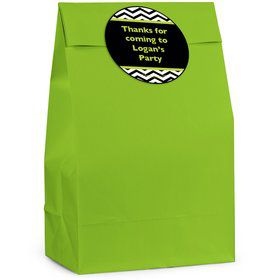 Lime/Black Birthday Chevron Personalized Favor Bag (12 Pack)