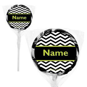 """Lime Chevron Personalized 2"""" Lollipops (20 Pack)"""