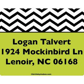 Lime Chevron Personalized Address Labels (Sheet Of 15)