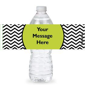 Lime Chevron Personalized Bottle Labels (Sheet of 4)