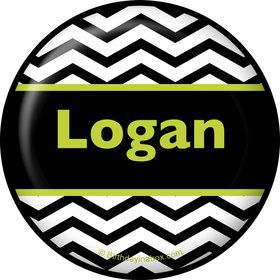 Lime Chevron Personalized Button (Each)