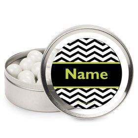 Lime Chevron Personalized Candy Tins (12 Pack)