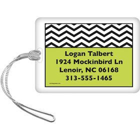 Lime Chevron Personalized Luggage Tag (Each)