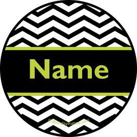 Lime Chevron Personalized Mini Stickers (Sheet of 24)