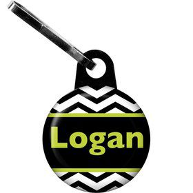 Lime Chevron Personalized Zipper Pull (Each)