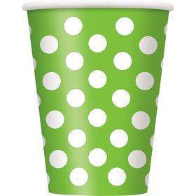 Lime Dots 12oz Cups (6 Pack)
