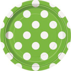 """Lime Dots 7"""" Cake Plates (8 Pack)"""