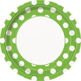 "Lime Dots 9"" Luncheon Plates (8 Pack)"