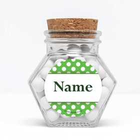 """Lime Dots Personalized 3"""" Glass Hexagon Jars (Set of 12)"""