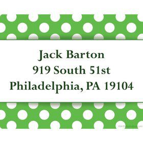 Lime Dots Personalized Address Labels (Sheet of 15)