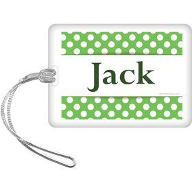 Lime Dots Personalized Bag Tag (Each)