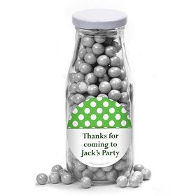 Lime Dots Personalized Glass Milk Bottles (12 Count)