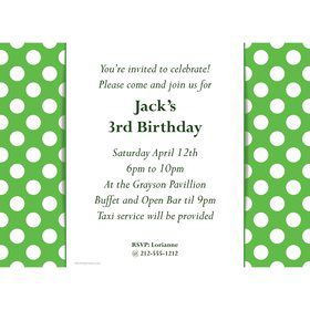 Lime Dots Personalized Invitation (Each)