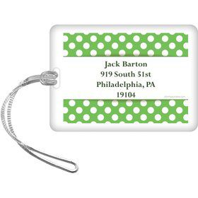 Lime Dots Personalized Luggage Tag (Each)