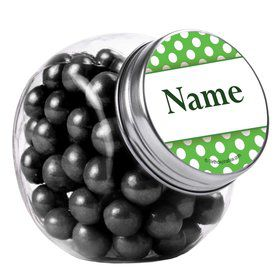 Lime Dots Personalized Plain Glass Jars (12 Count)