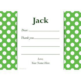 Lime Dots Personalized Thank You Note (Each)