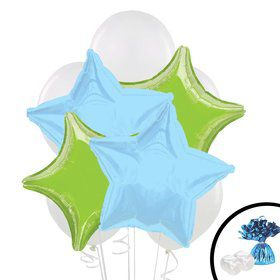 Lime Green Blue Balloon Bouquet