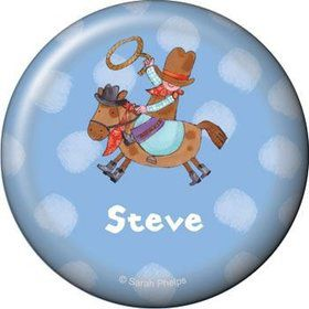 Little Cowboy Party Personalized Button (each)