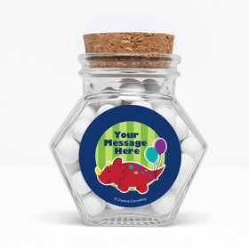 "Little Dino Personalized 3"" Glass Hexagon Jars (Set of 12)"