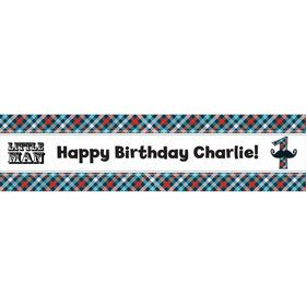 Little Man 1st Birthday Mustache Personalized Banner (each)