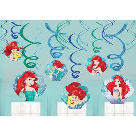 Little Mermaid Foil Swirl Hanging Decorations (12 Pack)