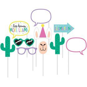 "Llama Party 10"" Photo Booth Props (10pcs)"
