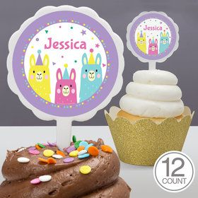 Llama Party Personalized Cupcake Picks (12 Count)