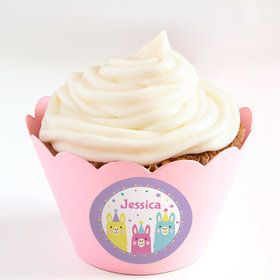 Llama Party Personalized Cupcake Wrappers (Set of 24)