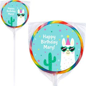 Llama Party Personalized Lollipops (12 Pack)