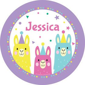 Llama Party Personalized Mini Stickers (Sheet of 24)