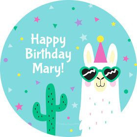Llama Party Personalized Stickers (Sheet of 12)