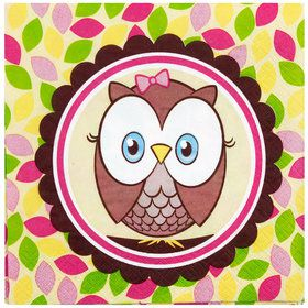Look Whoo's 1 Pink Lunch Napkins