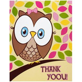 Look Whoo's 1 Pink Thank-You Notes