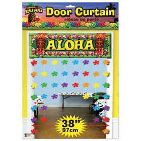"Luau Aloha Floral Door 38"" x 54"" Curtain"