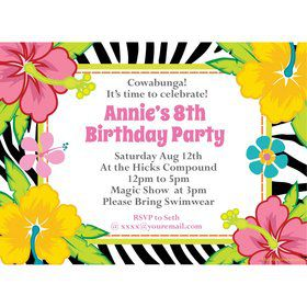 Luau Fun Personalized Invitation (Each)