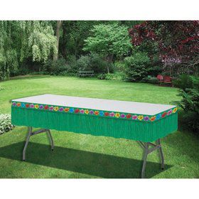 "Luau Green Plastic Fringe 12"" x 14' Table Skirt"