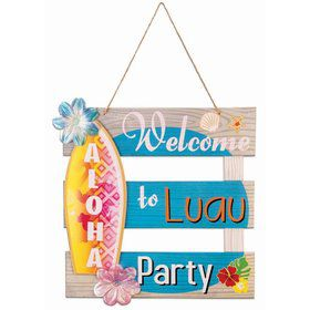 "Luau Paper Aloha 12"" x 12"" Welcome Sign"