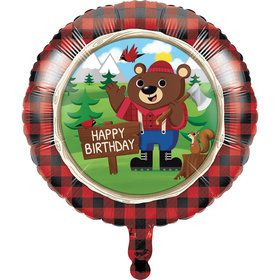 "Lumberjack Bear Happy Birthday 18"" Balloon (1)"