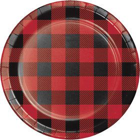 "Lumberjack Plaid 7"" Cake Plates (8 Count)"