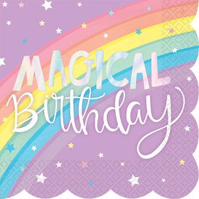 Magical Rainbow Birthday Scalloped Beverage Napkins (16)