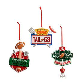 Man Cave Tailgate Signs Christmas Mini Tree Ornaments (3)