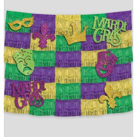 Mardi Gras Fringe Backdrop with Cutouts