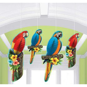 Margaritaville Tropical Bird Honeycomb Decorations