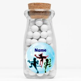 "Masked Heroes Personalized 4"" Glass Milk Jars (Set of 12)"