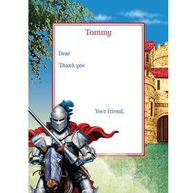 Medieval Knight Personalized Thank You Note (each)