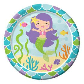 "Mermaid Friends 7"" Cake Plates (8 Count)"