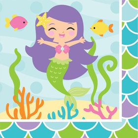 Mermaid Friends Beverage Napkins (16 Count)